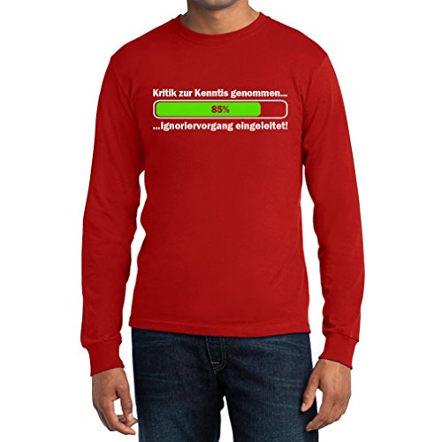 Witziges Motiv Kritik Zur Kenntnis Genommen Ignoriervorgang Langarm T-Shirt Rot
