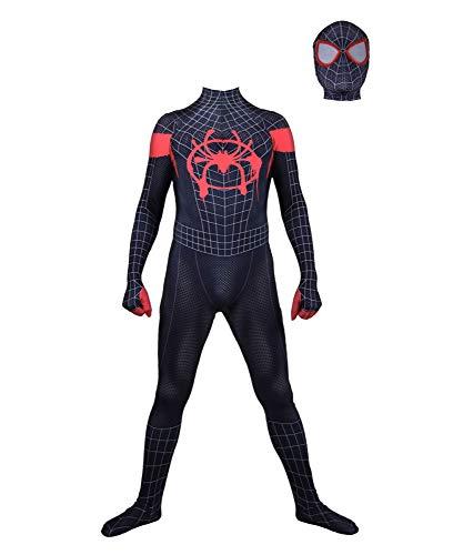 SHANGN Neue Erwachsene Kinder Schwarz Spider-Man Halloween Kostüm Overall 3D Print Spandex Lycra Spiderman - Cosplay Kostüm Body,Adult-L