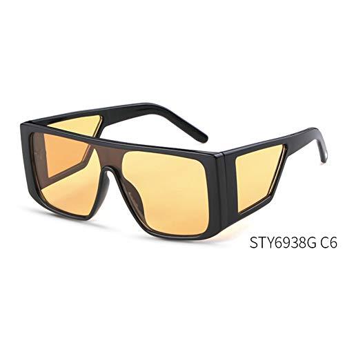 Taiyangcheng Gelbe Nachtsichtbrille Schild Sonnenbrille Männer Frauen Spiegel Objektiv Übergroßen Quadratischen Sonnenbrille Sport,C6 schwarz orange