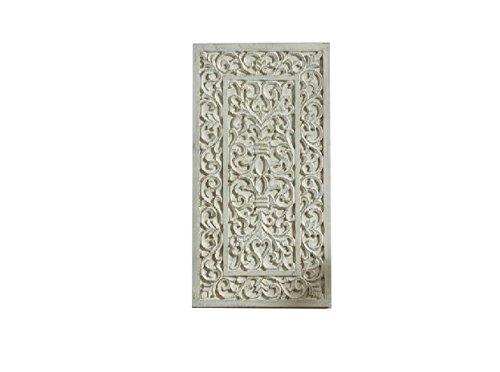Geschnitzte Holz-akzente (DonRegaloWeb–Mandala Holz geschnitzt Kopfteil oder Wand Dekoration in Weiß mit Gold Akzente)