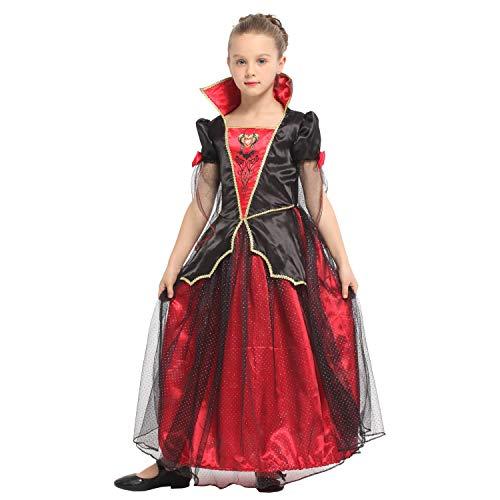 QUNSHIANK Mädchen Partykleid Halloween Vampire Princess Dress Kinder Halloween Kostüm Mädchen Jungen Cosplay 4-12 Jahre (Farbe : Photo Color, größe : XL)