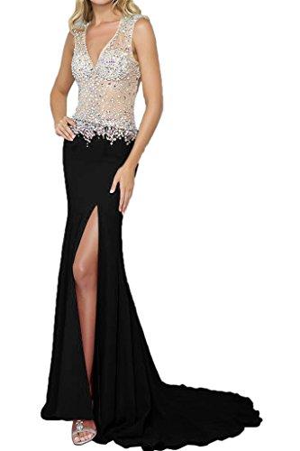 Ivydressing Damen Elegant V-Ausschnitt Schlitz Rueckenfrei Steine Partykleid Promkleid Festkleid Lang Abendkleid Schwarz