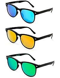 TheWhoop Super Combo UV Protected New Mirrored Blue, Orange And Green Wayfarer Sunglasses For Men, Women, Girls...