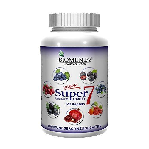 BIOMENTA SUPER7 – ANTIOXIDANTIEN KOMPLEX | mit OPC-Traubenkernextrakt + Cranberry + Goji + Aronia + Granatapfel + Acai + Heidelbeeren | 120 Kapseln | 2 Monatskur | VEGAN (Cranberry-und Traubenkernextrakt)
