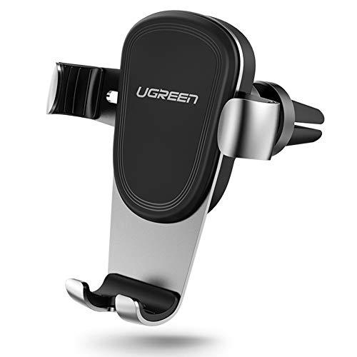 Ugreen supporto gravità auto porta cellulare in alluminio, rotare a 360 gradi per presa d'aria, per smartphone 4,7-6 pollici, come iphone x 8 7, samsung s9 s8 s7, huawei p20 p10, lg v30 v20 ecc.