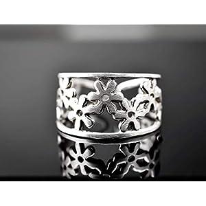 925 Sterling Silber Blumen Ring größenverstellbar & geeignet für alle Fingergrößen Exclusive Schmuckschachtel Geschenkverpackung für Naturliebhaber