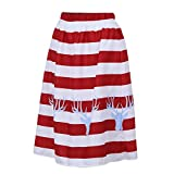 Mrs Christmas A-line Skirt Dress, Quaan Girl Sexy Striped Casual Elasticated Waist Taste Demin Party Pencil elegant Dinner Stretchy Easy Classic Winter Autumn Skirt