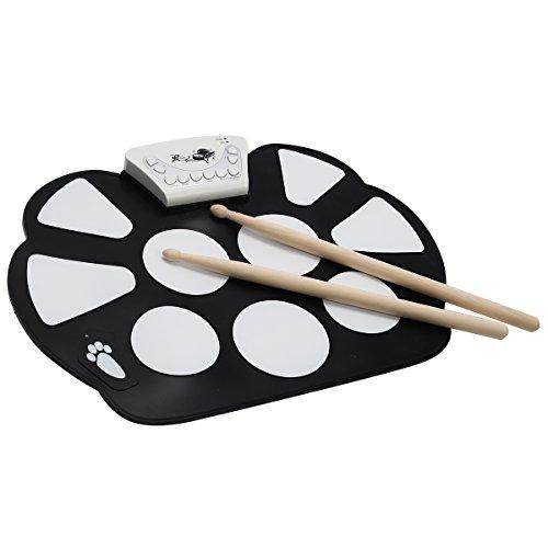 Elektronische Trommel E-Drum Elektronik Drum Roll Up Drum Pad Kit Instrument Faltbar Tragbar mit 2 Fußbretter
