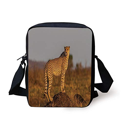 Animal Cheetah Standing on Termite Mound Savannah Nature View Decorative,Ginger Apricot Dust Print Kids Crossbody Messenger Bag Purse ()