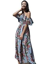 Abito da spiaggia donna Abito da spiaggia donna con stampa floreale in  chiffon Vestito estivo da spiaggia con scollo… 204ea2875c6