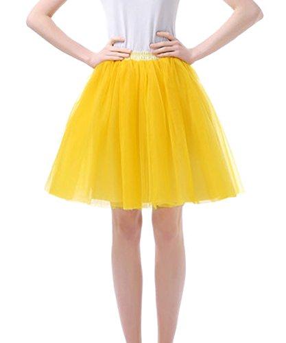 Facent Damen Kurz Tutu Tüllrock Petticoat Kleid Minirock Tütü Ballerina Tüll Rock Reifrock Gold