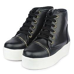 Do Bhai Stylish Boot-Bomb for Womens (Euro37, Black)