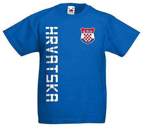 Kroatien Hrvatska Kinder EM 2016 T-Shirt Trikot Name Nummer (Royalblau, 128)