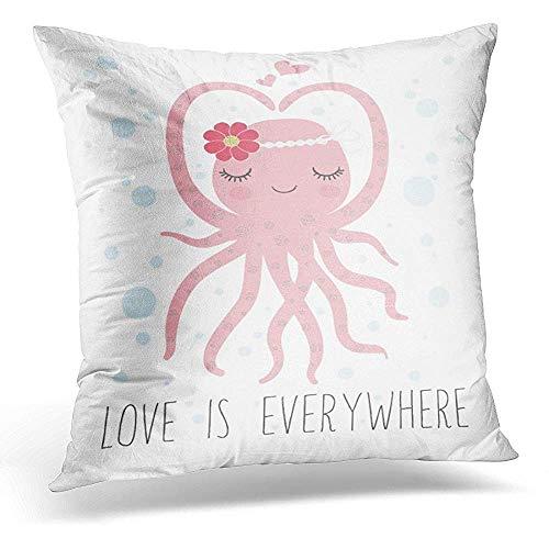 Monicago Zierkissenbezüge, Decorative Pillow Cover Pink Girl Cute Octopus Design Character Throw Pillow Case Square Home Decor Pillowcase 18x18 Inches (Verlobungsring Protector)