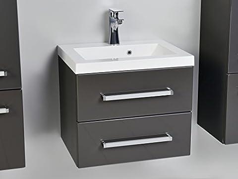 Quentis Waschplatzset Genua 50, 2-teilig, Waschbecken und Unterschrank, Front und Korpus anthrazit glänzend, 2