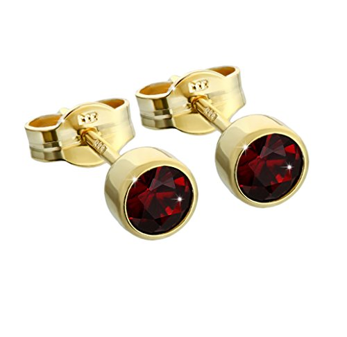NKlaus Paar Ohrstecker Gold 333er 4,50mm echt Granat Damen Herren Kinder 6717