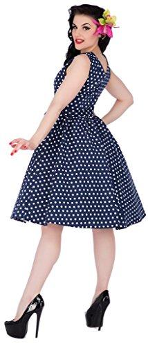 Dolly & Dotty™ Damen 'Wendy' 50er Jahre Tupfenkleid V-Ausschnitt Swingkleid Blau (navy Blue Al)