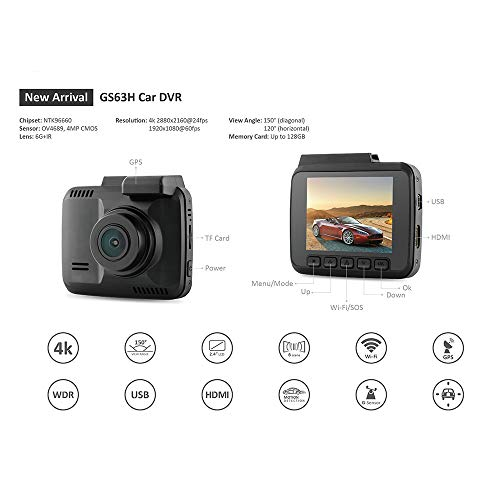 Altsommer 2,4-Zoll-LCD-Bildschirm Autokamera HD 1080P Doppelobjektivkameras mit 170° Weitwinkelobjektiv,Automatische Aufnahme,Auto Kamera mit Fernbedienung von Dashboards (A)