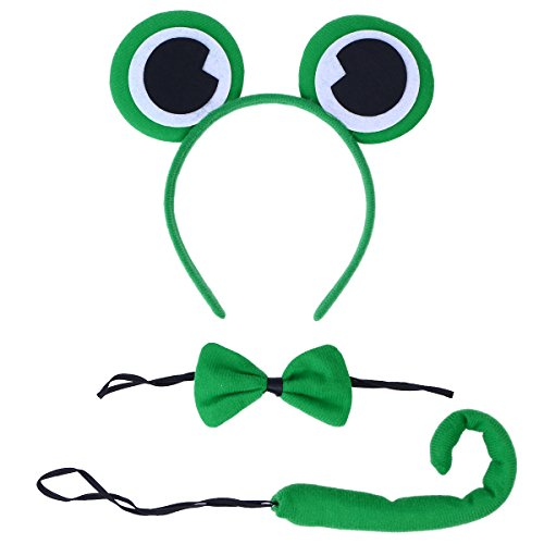 FENICAL 3PCS Children Kids Cat Ears Headband Bow Ties Tail Set Cosplay Costume Party Supplies (Green Frog)