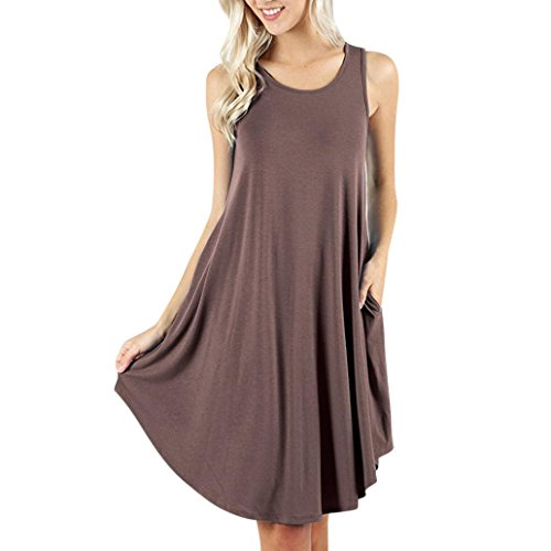 SANFASHION 2019 Damen Kleider Festlich Strandkleid Beiläufiges Sommerkleider Einfarbig Freizeitkleid Knielang mit Taschen