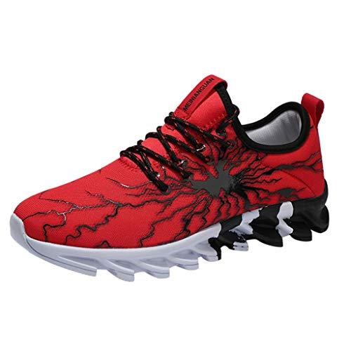 Laufschuhe Paar Mode Sneaker Damen Herren Sportschuhe Graffiti Vamp Fitnessschuhe Stoßdämpfung Tragen Basketballschuhe Blade-Sohlen Turnschuhe, Rot