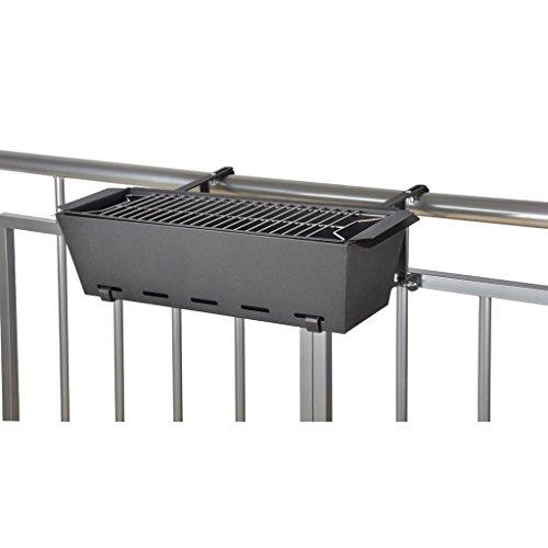 Esschert Design Barbacoa de Balcón Metal Negra BL096 Jardinera 58 x 37,5 x 19 cm