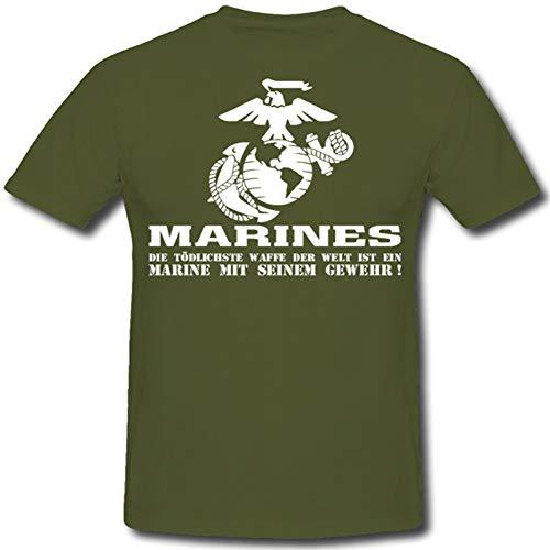 Marine Corps Mit Seinem Gewehr United States Us Military Armee Militär Army - T Shirt #1214, Farbe:Oliv, Größe:Herren XL -