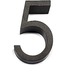 Número Casa cinco, WER Número 5 de Casa, Número de Buzones, Número de Suerte, Número de Aleación de Aluminio de Lujo con Aspecto Flotante y Diseño 3D - 3.5*6*3cm
