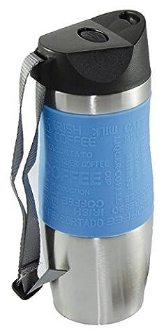 Élégant Tasse de voyage en acier inoxydable isolée sous vide Café Thé Boissons froides un clic Opération à une main 380ml 13oz neuf - bleu
