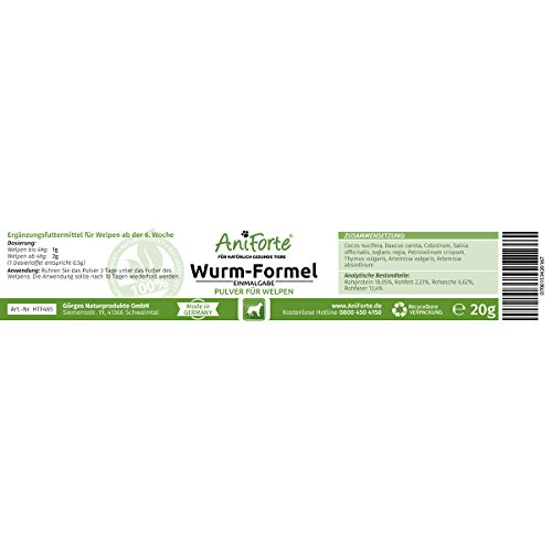 AniForte Welpen Wurm-Formel 20 g - Naturprodukt speziell für Welpen ab der 6. Woche -
