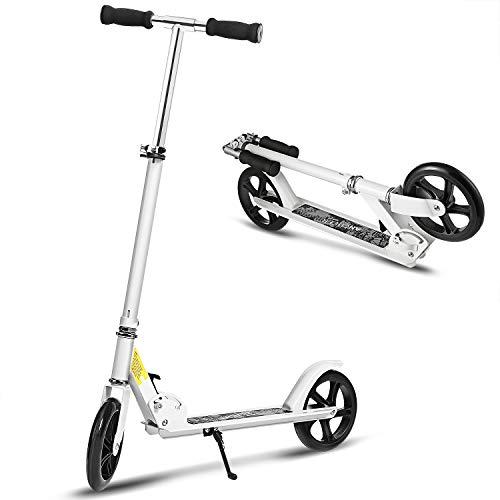 WeSkate Roller Scooter für Erwachsene mit Big Wheels Klappbar und Höhenverstellbar, Tretroller für Kinder ab 12 Jahre Max. 100kg Weiß