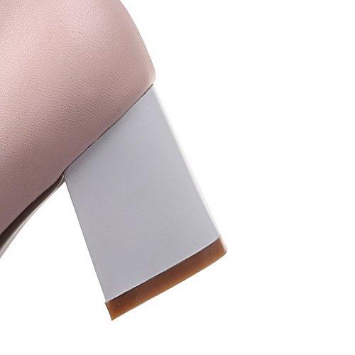 AllhqFashion Femme Tire à Talon Correct Pu Cuir Couleurs Mélangées Rond Chaussures Légeres Rose