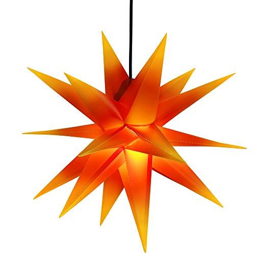 ETiME 60cm Außenstern Rot - Gelb Weihnachtsstern 3D beleuchteter Stern Adventsstern Leuchtstern mit 18 Spitzen Faltstern wetterfest (Rot mit gelben Spitzen Klassisch)