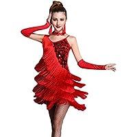 NiSeng Femme jupe danse latine compétition performance robe sequin houppe robe