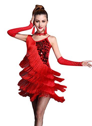 NiSeng Damen Latin Kleid Paillette Quasten Kleid Latin-Tanzkleidung Kostüme S Rot (Schwarz Contemporary Dance Kostüm)