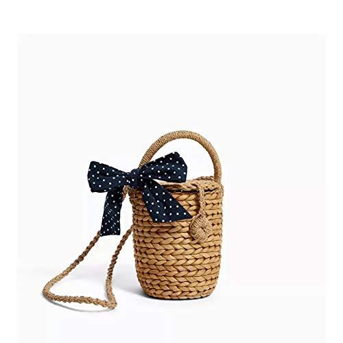 LZH Handtasche, Gras Gewebt Bogen Mini Kleine Duft Kleine Korb Kind Tasche Größe: 12 * 12 * 16 cm -