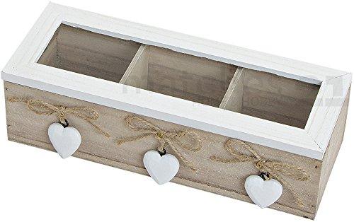 Kleine Teebox 3 Fächern Holz und Sichtfenster