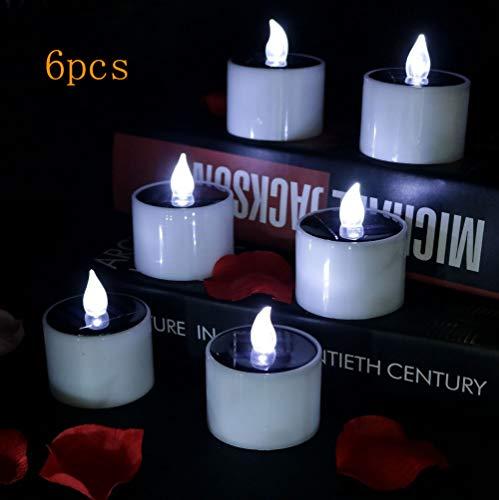 SZQL LED Kerzen, Solar Power Flickering Tea Lights Flammenlose Kerzen Geburtstag, Party, Hochzeitsdekoration-Cool White flash-2x2.2in -