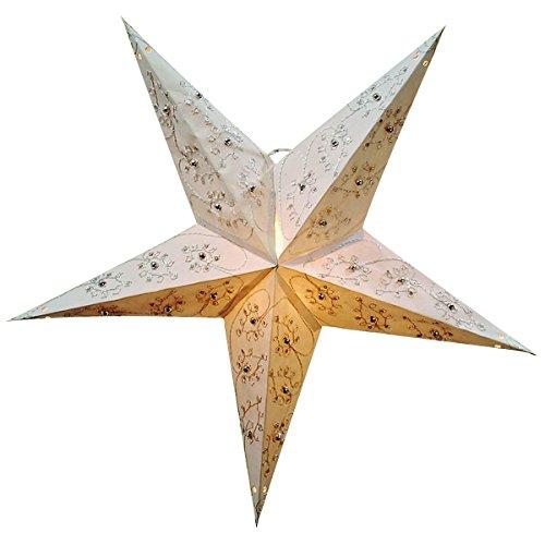 Weihnachtsstern / Faltstern 5 Zacken mit Stickerei und Perlen weiß/silber 60 cm (Weihnachtsstern Perlen)
