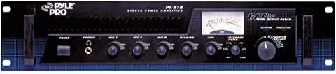 PyleHome PT610 19 inch Rack Mount 600W Power Amplifier/Mixer with 70V Output and Mic