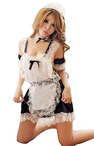 Sexy Zimmermädchen Kostüm - bunny-shop Damen Zimmermädchen Kostüm Kleid Sexy Outfit Dessous Cosplay Fasching Karneval 6-teilig MAID: Schürze Halsband Armbänder Haube und String
