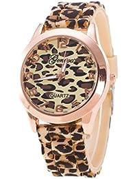 Relojes Pulsera Mujer, Xinan Unisex Ginebra Leopardo Silicona Jalea gel Reloj de Cuarzo Analógico (