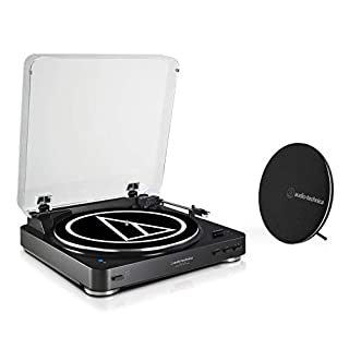 Audio Technica AT-LP60SPBTBK Limited Edition Bluetooth Fully Automatic Wireless Belt-Drive Stereo Turntable and Speaker Combination AT-LP60BT