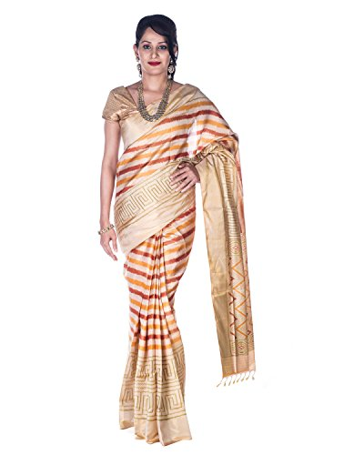 Rajarams Cream Colored Stripped Patola Silk Pure