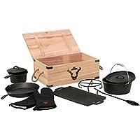 BBQ-TORO 8-teiliges Dutch Oven Set in Holzkiste, Gusseisen, eingebrannt, Töpfe, Pfanne, Handschuhe und mehr
