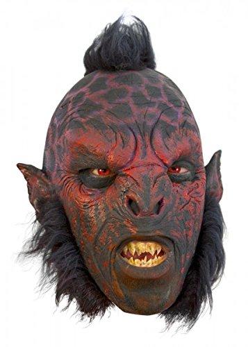 Schaurige Ork Maske mit Haaren rot, Herrenmaske Halloween LARP Cosplay Orkgesicht aus Latex Faschingskostüm