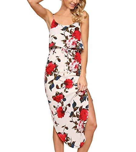 FEITONG Frauen Sommer Blumen ärmelloses Langes beiläufiges Kleid Weiß