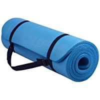 (blue) - BalanceFrom GoYoga All-Purpose 1.3cm Extra Thick High Density Anti-Tear Exercise Yoga Mat with Carrying Strap