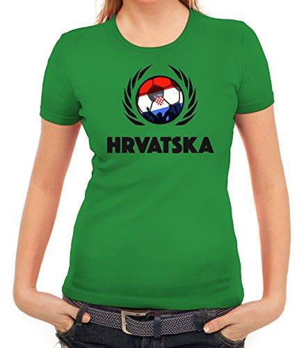 ShirtStreet Hrvatska Croatia Soccer Fussball WM Fanfest Gruppen Fan Wappen  Damen T-Shirt Fußball Kroatien