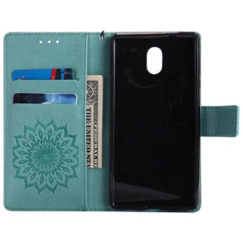 LEMORRY Nokia 3 Custodia Pelle Cuoio Flip Portafoglio Borsa Sottile Bumper Protettivo Magnetico Morbido Silicone TPU Cover Custodia per Nokia 3, Fiorire (Oro Rosa) Verde